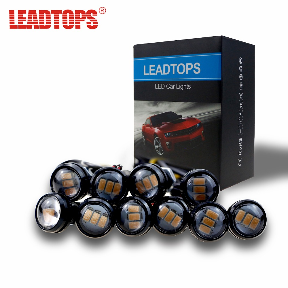 LEADTOPS 3 LED Car DRL Eagle Eye light Car Styling DIY 2.3Cm 500LM Waterproof Parking Lamp Tail LED Car Work Lights Source AJ leadtops 10pcs 23mm car styling led drl eagle eye daytime runing lights warning fog lights with turning signal light 12v auto db