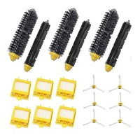 Replacement 6x HEPA Filter Side Brush Kit 3 Bristle And Flexible Beater Brush For IRobot Roomba