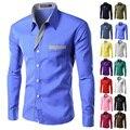 Brand New Мужские Формальные Бизнес Рубашки Повседневные Slim С Длинным Рукавом Dresse Рубашки Camisa Masculina Повседневная Рубашки Азиатский Размер M-4XL 8012