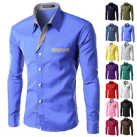2014 New Dress Fashion Quality Long Sleeve Shirt Men Korean Slim Design Formal Casual Male Dress