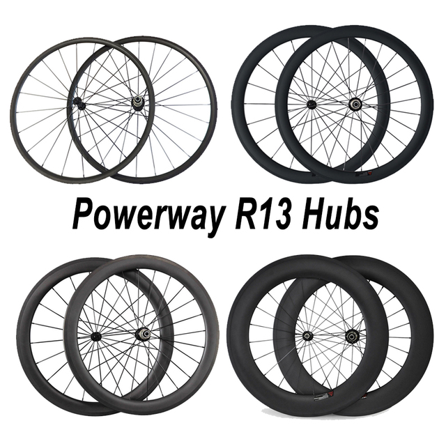 Cheap 24mm 38mm 50mm 60mm 88mm Carbon Road Bicycle Wheelset Clincher with Powerway R13 Hub  494 spokes alloy nipple Carbon Bike Wheels