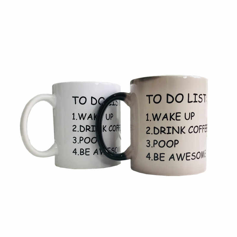 Hot sales 300ml Color Changing Sturdy ceramic coffee mugs to do list wake up drink coffee poop be awsome handgrip couple 2/cups