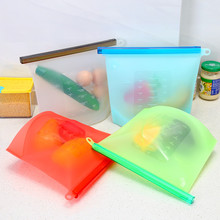 1PC Reusable Seal Silicone Food Fresh Bag Vacuum Sealer Fruit Meat Milk Storage Bags Kitchen Accessories 1500ML Dropshipping(China)