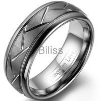 8mm topkwaliteit grijs geborsteld afwerking tungsten ring diagonaal groeven mannen ring verlovingsringen voor mens anelli uomo