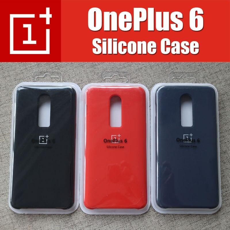 Un 6 style Original avec la boîte de Détail Oneplus 6 Cas Rouge Réel De Silicone Liquide Snapdragon 845 Oneplus6 Doux Protecteur Retour couverture