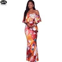 HongMiao 2018 New Fashion Summer Ruffle Print Maxi Dress Robe Sexy Off Shoulder Beautiful Boho Dress