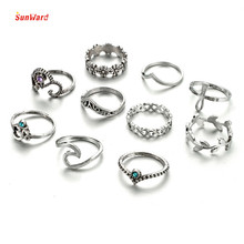 SunWard 10pcs/Set Vintage Punk Ring Set Hollow Rings Women Boho Beach Jewelry For Fashion Women, Girl