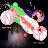 Artificial Vagina Real Pussy with Bullet Vibrator Masturbator Tight Channel Portable Pussy Male Masturbation Cup Sex Toy for Men