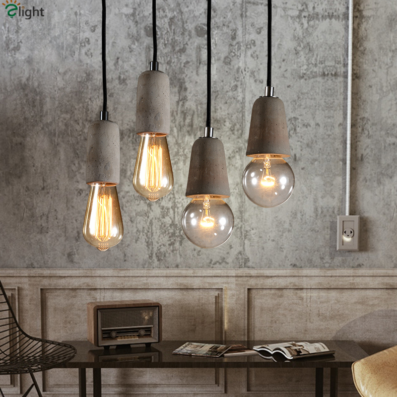 Nordic Minimalism Rough Pure Concrete Led Pendant Light With Free Bulbs Bar Cafe Cement E27 Small Hanging Lamp eiceo nordic ancient art cement resin creative pendant lamp minimalist retro cement lampshade for indoor cafe bars decor light