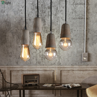 Nordic Minimalism Rough Pure Concrete Led Pendant Light With Free Bulbs Bar Cafe Cement E27 Small Hanging Lamp