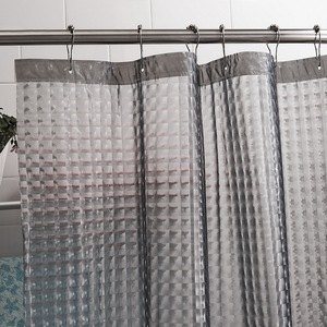 Image 4 - Утолщенная занавеска для душа Happy Tree PEVA 3D Water Cube, полупрозрачная Водонепроницаемая занавеска для ванной комнаты, занавеска для ванной с украшениями