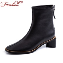 FACNDINLL women autumn winter ankle boots shoes new fashion genuine leather square heels black beige short boots big size 34-41 недорого