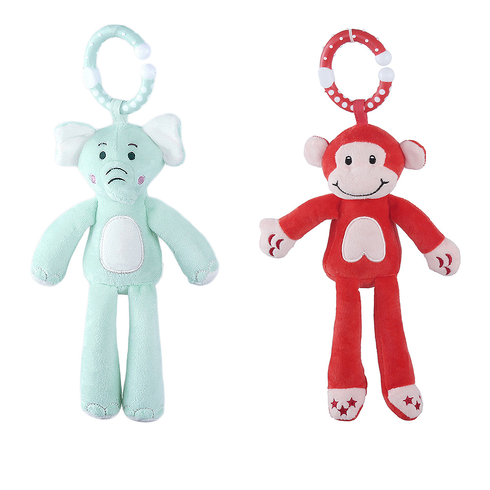 Plush Doll Cartoon Monkey Elephant Baby Infant Rattles Plush Doll Stroller Wind Chimes Bed Hanging Appease Toy 13.5*21cm Hot