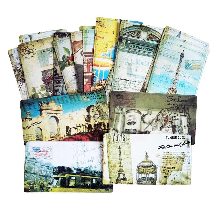 20 Pcs/pack Vintage  Paris Business Card Set Memory Postcards Mailed Greeting Card Office&School Supplie