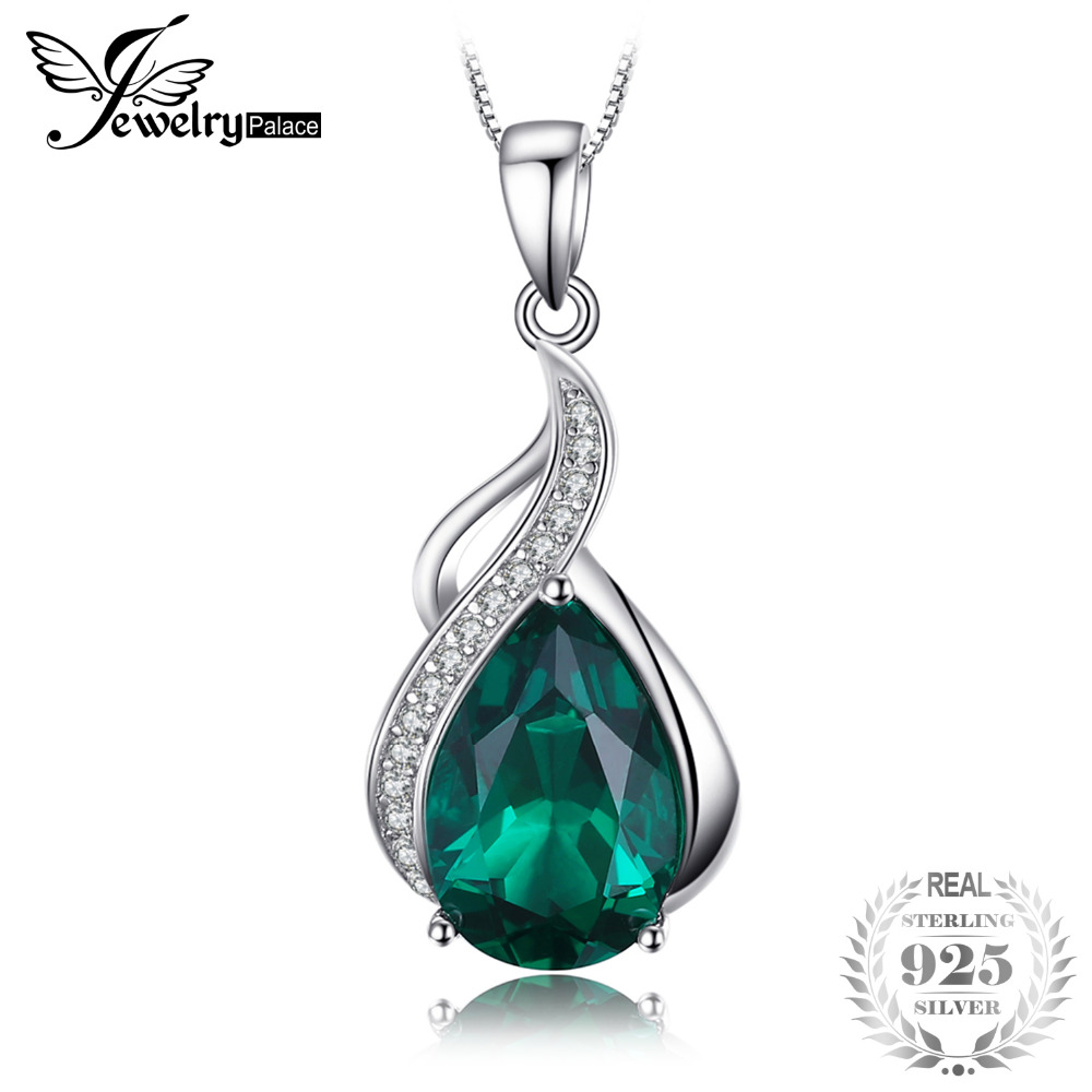 JewelryPalace 2.8ct Pear Created Emerald Pendant Necklace 925 Sterling Silver New Fine Jewelry 45cm Box Chain Gift For Woman jewelrypalace pear shape 11ct created alexandrite sapphire pendant necklace 925 sterling silver 45cm box chain woman choker