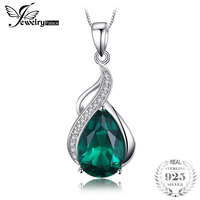 JewelryPalace 2.8ct Pear Created Emerald Pendant Necklace 925 Sterling Silver New Fine Jewelry 45cm Box Chain Gift For Woman