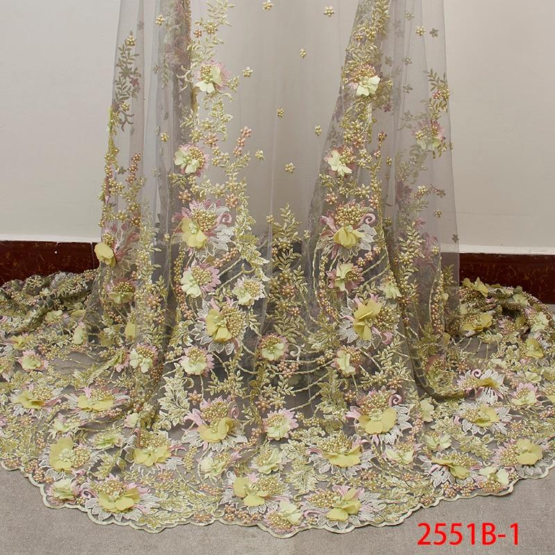 Afrikaanse Kant Stof met 3D Bloem Hoge Kwaliteit Handgemaakte Kralen Kant stof 3D Kant Stof voor Bruiloft Avondjurk APW2551B 4-in Kant van Huis & Tuin op  Groep 3