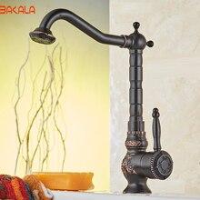2017 bakala Высокое качество Роскошный Черный Латунь Кухонная Раковина Одной ручкой Поворотный Смеситель для кухни BR-10701H