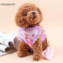 SYDZSW Pet Leash for Dogs Cats Cute Embroidered Flower Sexy Lace Dog Harness Chihuahua Yorkie Dog Leads Pet Products Breathable