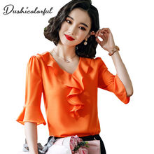 Dushicolorful summer short sleeve chiffon blouses woman 2019 office lady shirt plus size orange red Ruffle ladies tops blusas
