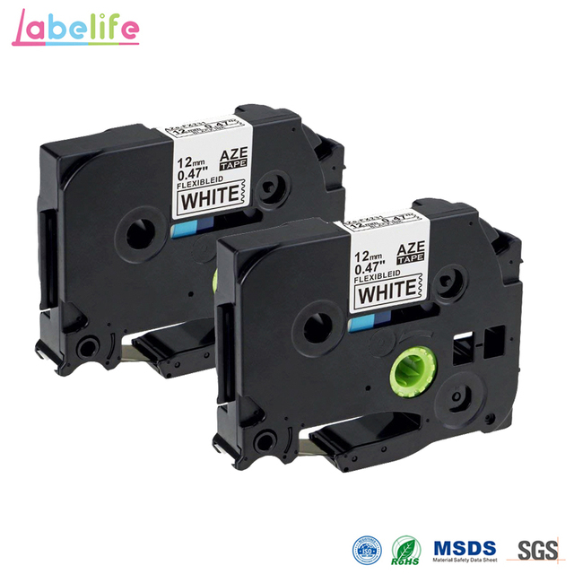 c3987923ce1 Labelife 2 Pack 12mm TZe-FX231 Compatible for Brother Laminated Flexible ID  Black on White