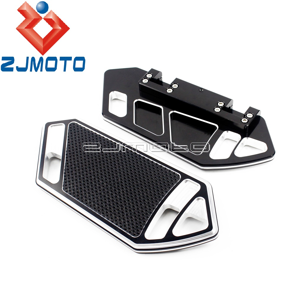 Black Motorcycle Passenger Footrest Rear Footboard Floorboard For Harley Touring Road King Softail 1984-2015 W/ Floorboards