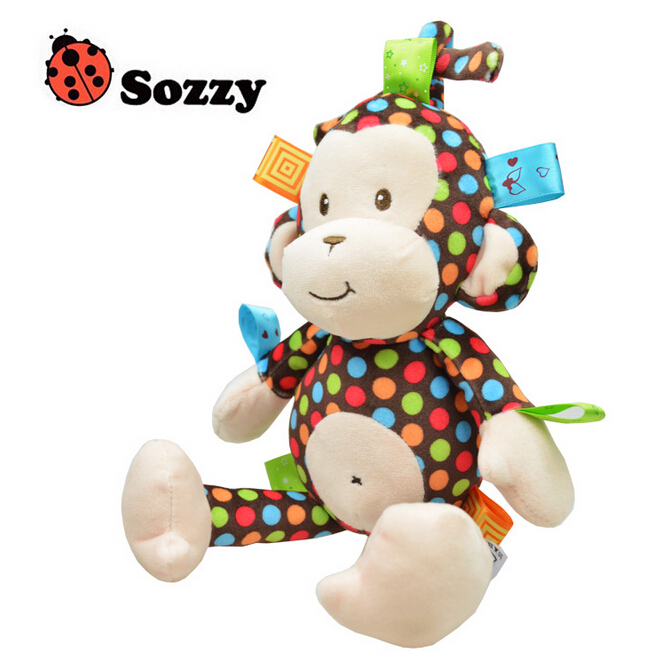 Angugu Baby Rattle Monkey Bell Plush Toys Infant Dolls