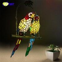 FUMAT Glasmalerei Papagei Lichter Kreative Kunst Glas Vogel Papageien Pendelleuchte Für Wohnzimmer Glasschirm FÜHRTE Pendelleuchte