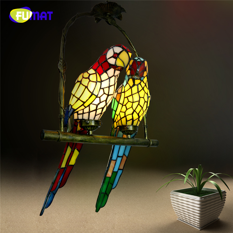 FUMAT Stained Glass Parrot Lights Creative Art Glass Bird Parrots Pendant Lamp For Living Room Glass Shade LED Pendant Light fumat glass pendant lamp mediterranean style glass suspension light 3 lights art creative birds pendant lamp kitchen lighting