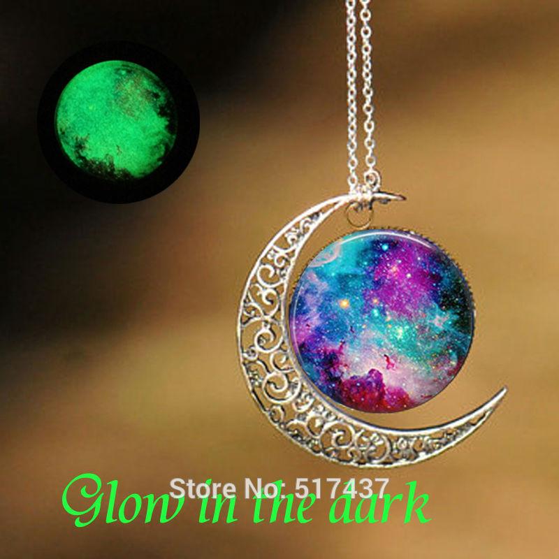 Glow in The Dark Necklace Nebula Galaxy Pendant Glass Dome Necklace Glow Necklace
