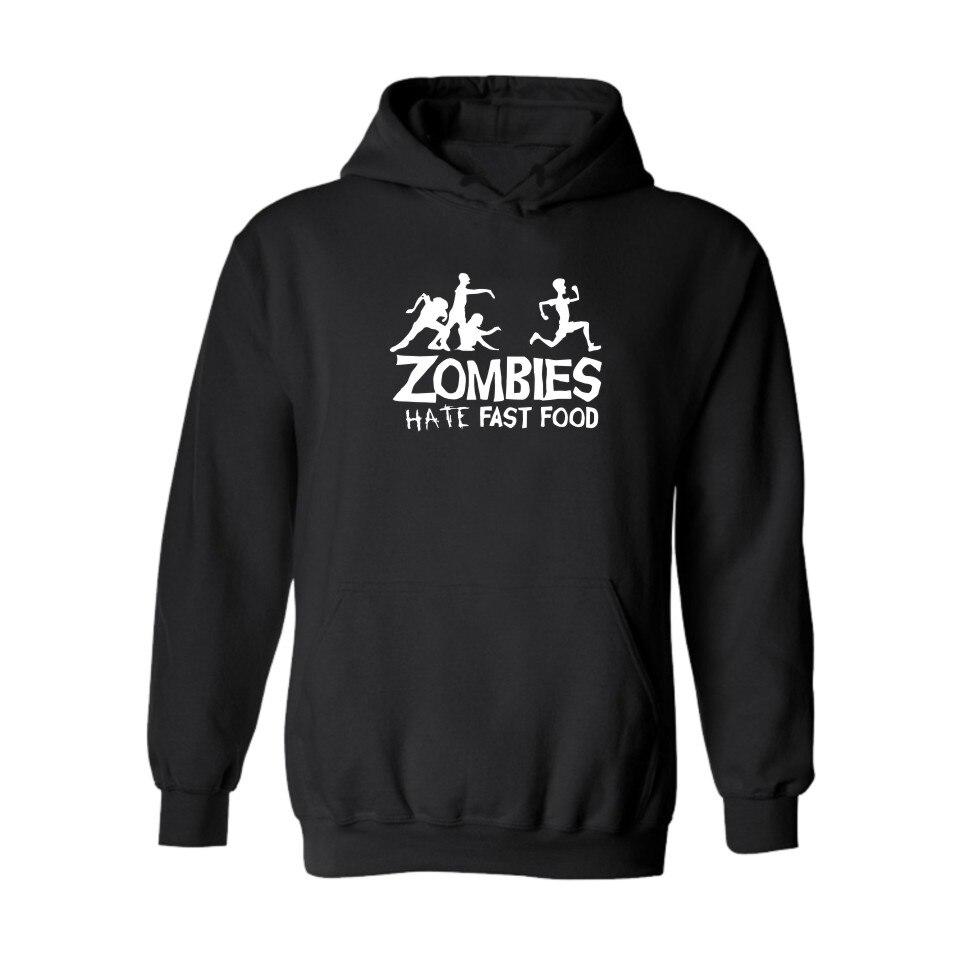ZOMBIE with Letters Hate Fast Food BlackGray Hooded New Hoodies Men Brand Designer Mens Sweatshirt Men with Hoodies Men Luxury