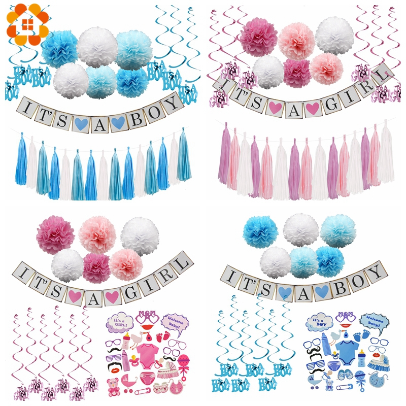 1Set Paper Crafts Baby Shower ITS A Boy /Girl Banner Garlands Bunting Tassel For Kids Birthday Decoration Party Supplies