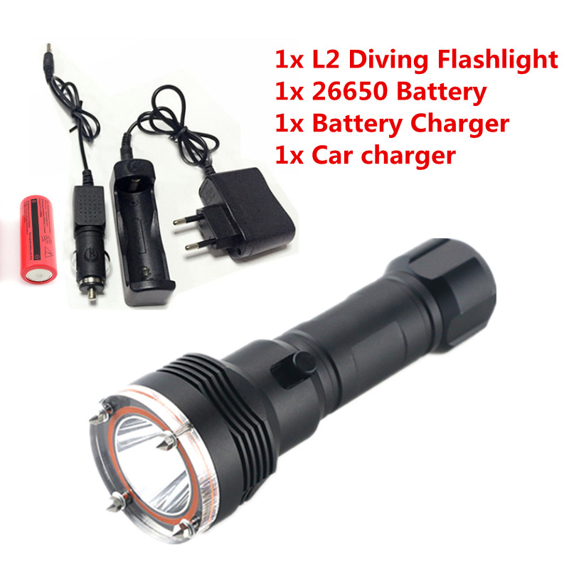 где купить  2000LM CREE XM-L2 LED Torch Waterproof Diving Flashlight Underwater 100M & 26650 3000mah Battery+ Charger  дешево