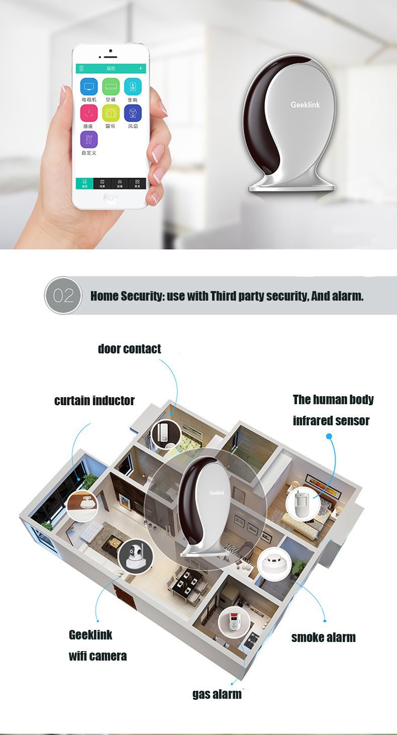 12-Geeklink Thinker,Remote Controller Switch,Router,IR+WIFI+RF,315433Mhz,315 Wireless Alarm, Smart Home Automation by IOSAndroid