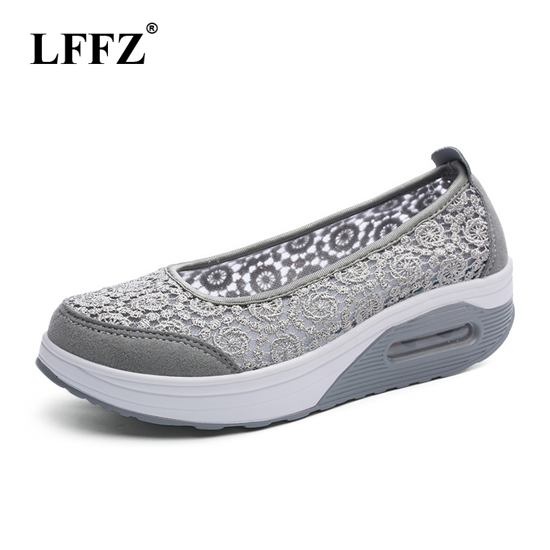 LFFZ <font><b>Women</b></font> sneaker shoes outdoor breathable comfortable Platform shoes 2018 lightweight lace mesh casual <font><b>women</b></font> shoes JH117 image