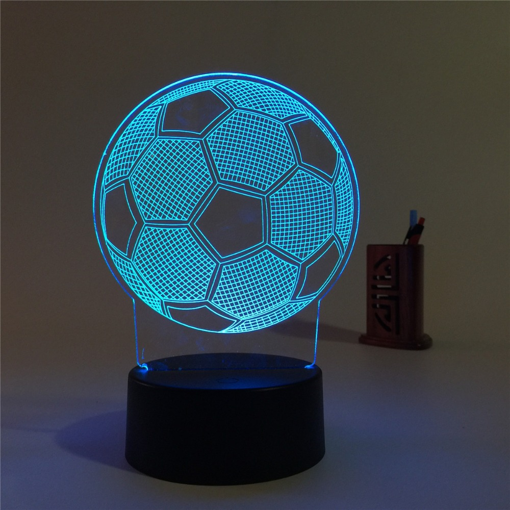 Creative 3D illusion Lamp LED Night Lights 3D football Discoloration Colorful Atmosphere Lamp Novelty Lighting цена