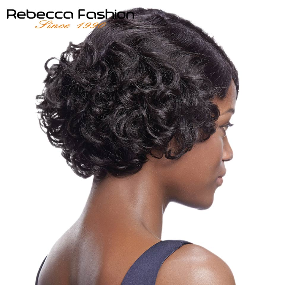 Rebecca Human Hair Wigs For Black Women Brazilian Remy Jerry Curly Human Hair Wig Short Bob Retro Curly Wigs Free Shipping 1B#