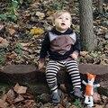 Chilren Define o Estilo Da Moda Fox Kids Ternos Para Meninos MAKA Conjuntos de Padrão Animal Do Bebê DOS MIÚDOS Meninas Da Criança Roupas Fox Infantil KIKIKIDS
