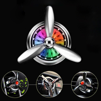 Car Interior Air Force 3 Propeller Shape LED Light Air Freshener Vent Clip Car Ornaments Decor