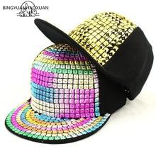 BINGYUANHAOXUAN Kids Fashion Rivet Hip Hop Snapback Hats Gold Silver Crystal Brand Baseball Cap Luxury Parent-child Gorras