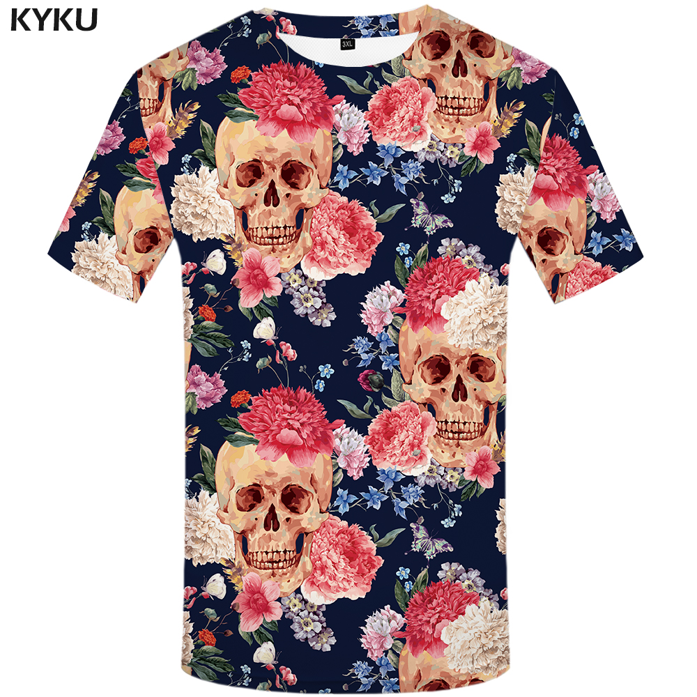 KYKU Brand Skull T shirt Skeleton T-shirts flower Tshirt funny 3d t-shirt men hip hop mens clothing china Skull head 2017 Tops