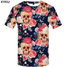 цена KYKU Brand Skull T shirt Skeleton T-shirts flower Tshirt funny 3d t-shirt men hip hop mens clothing china Skull head 2017 Tops в интернет-магазинах