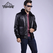 New Flight Genuine Leather Jacket Men Cowskin Cappotto Bomber Winter Thermal Coat Windstopper Fur Neck Collar Doudoune Homme