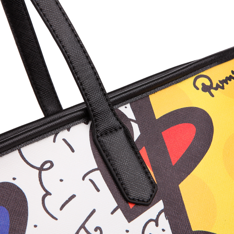 ROMERO BRITTO 2017 New Brand PU Printed Women Leather Designer High Quality Big Tote Female Graffiti Bags Handbags Womens