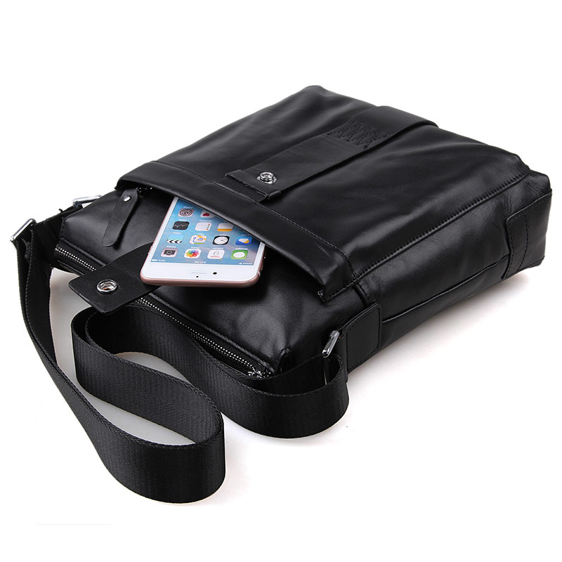 Augus Casual Business Leather Mens Messenger Bag Genuine Cow Leather Cross Body Bag Black Sling Bag 7151A new casual business leather mens messenger bag hot sell famous brand design leather men bag vintage fashion mens cross body bag