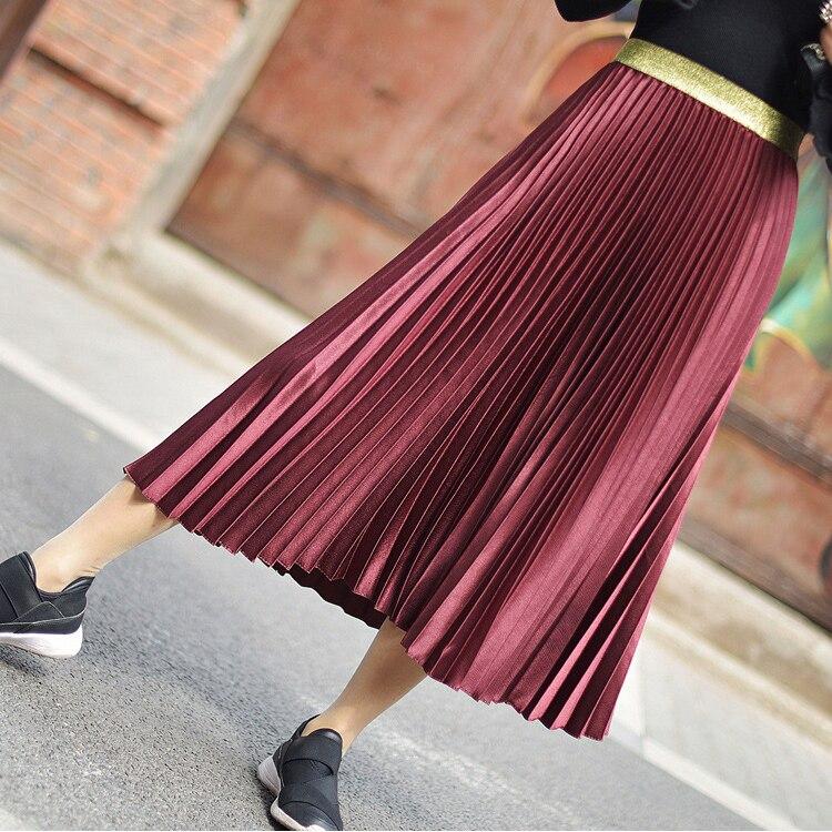 Stretch High Waist Long Pleated Skirt 8