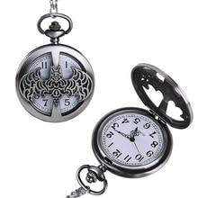 1pc Steampunk men male antique retro Quartz watch cartoon vintage pocket fob watches Skeleton clocks sweater necklace pendant H4