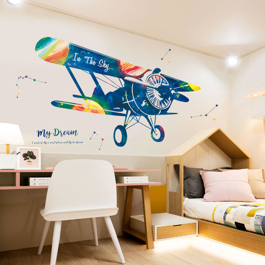 Creative Self-driving Aircraft Wall Stickers PVC My Dream Colorful Airplane Wall Stickers Flying Kids Boys Girl Room Decoration image