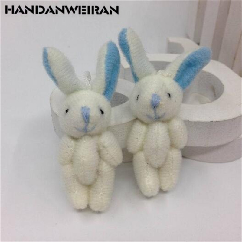 2PCS Cute Soft Joint Rabbit Pendant Plush Bunny For Children Bouquet Toys Doll DIY   Ornaments Gifts Mini Toy 4CM HANDANWEIRAN