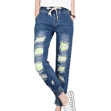 Autumn Hole Denim Jeans Women Fashion BF Style Pants Trousers Fashion Elasticity Waist Slim Beggars Pants